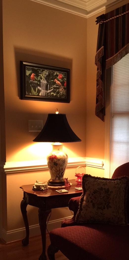 Lamp under artwork